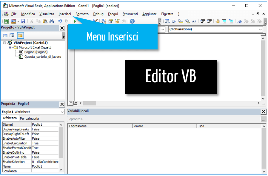 editor VB Excel | vba per excel