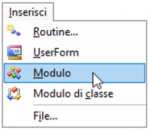 Inserire un modulo standard in Excel