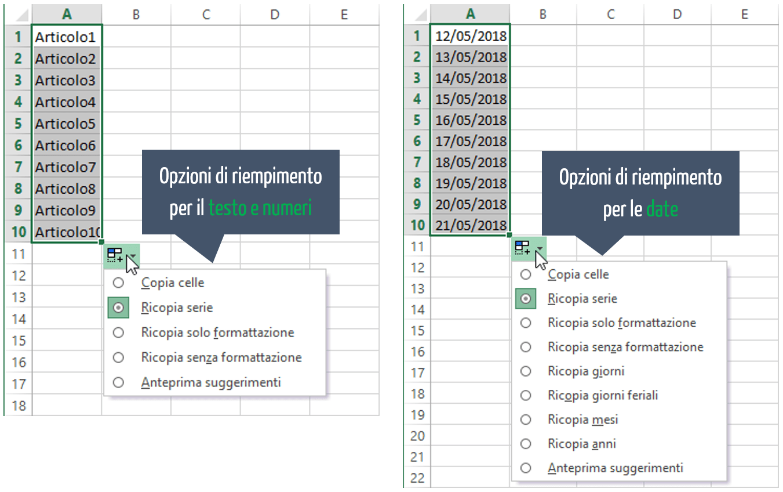 Riempimento automatico Excel