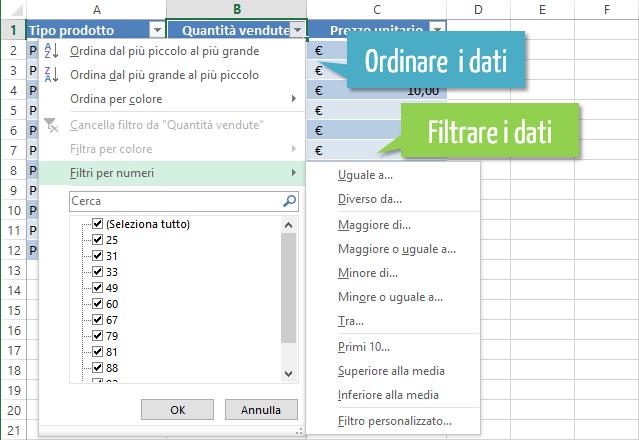 Tabelle Excel - ordinare e filtrare dati