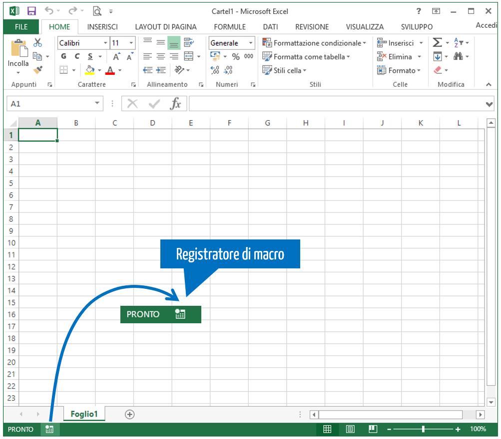 Macro Excel - avviare il registratore di macro