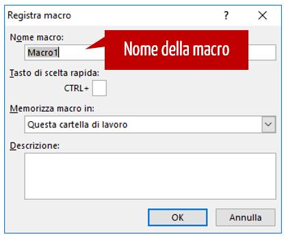 Macro Excel - nome della macro