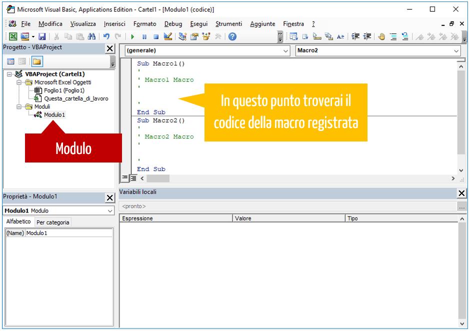 Macro Excel - modulo standard macro