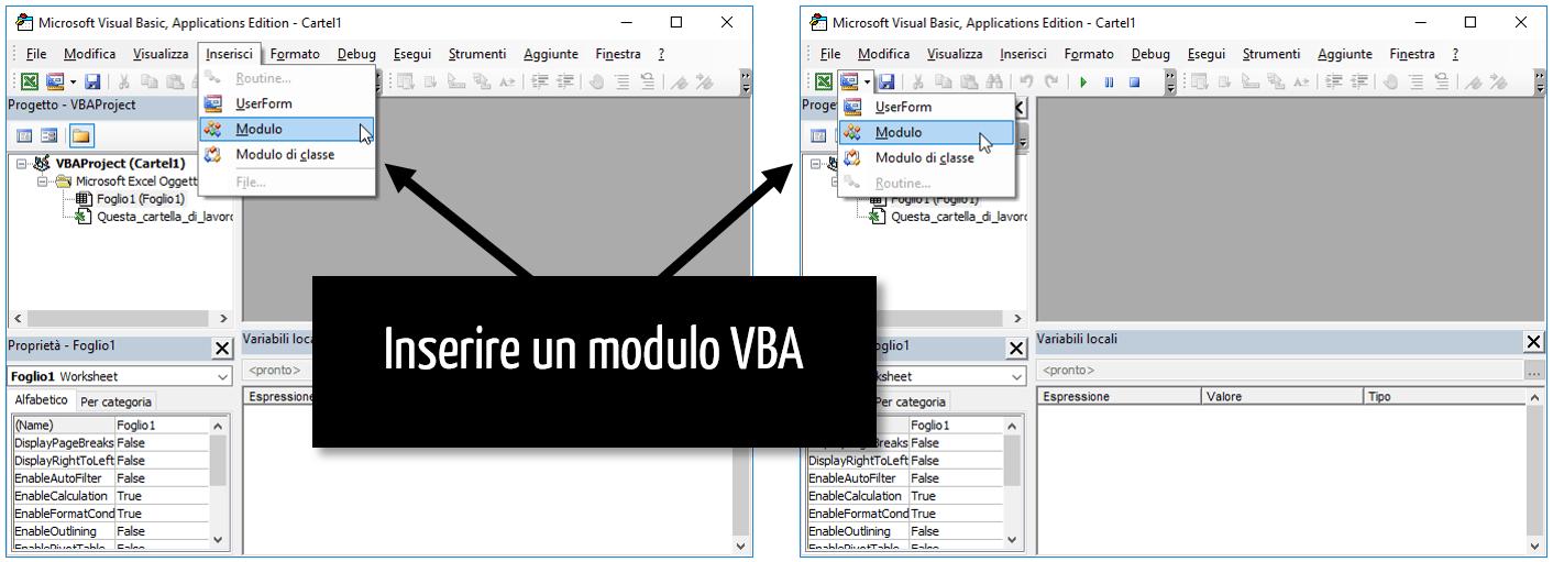 linguaggio VBA | inserire un modulo Excel macro VBA | macro Excel VBA