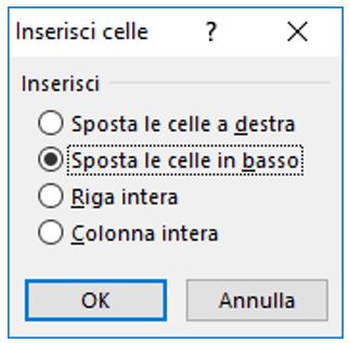 inserisci celle