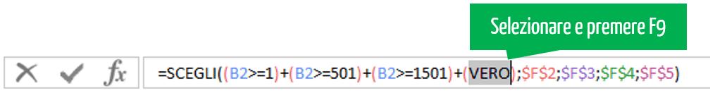 selezionare e premere f9