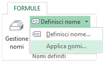 inserire formule in Excel | applica nomi