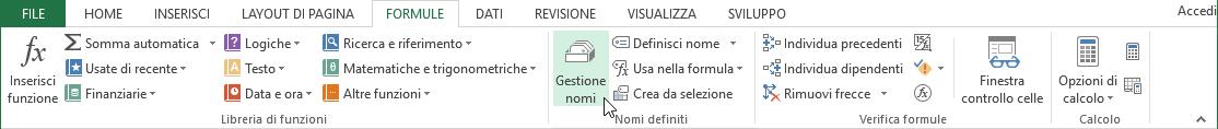 Tabelle Excel - pulsante gestione nomi