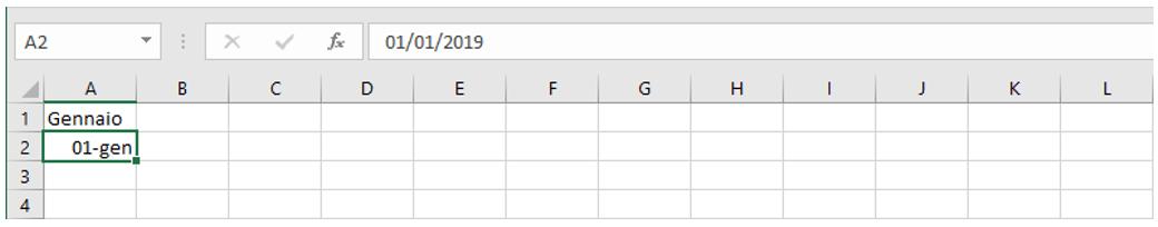 creare calendario con excel: inserire il mese e la data