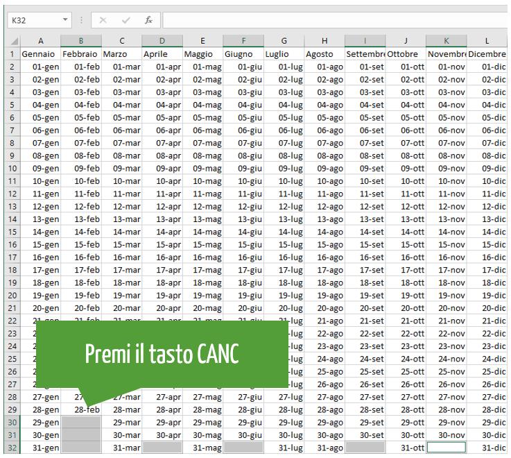 creare calendario excel: cancellare contenuto celle con date non pertinenti