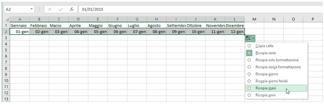 calendario excel: opzioni di riempimento automatico