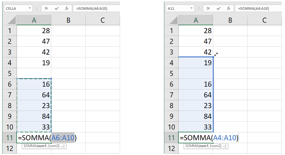 formula somma in excel | celle vuote funzione somma Excel
