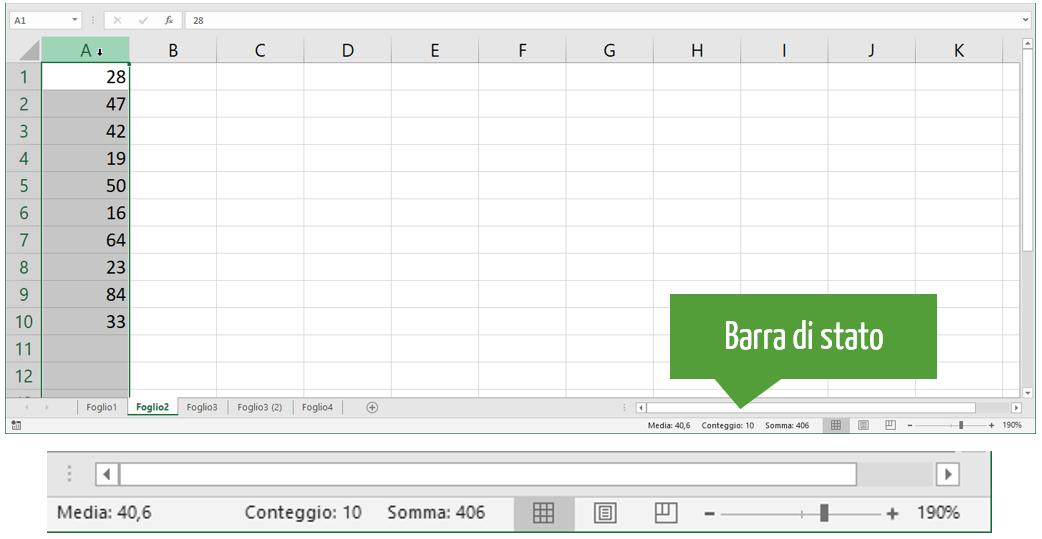 somma Excel nella barra di stato
