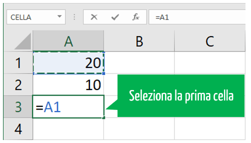 sommare con excel | formula somma Excel selezione prima cella
