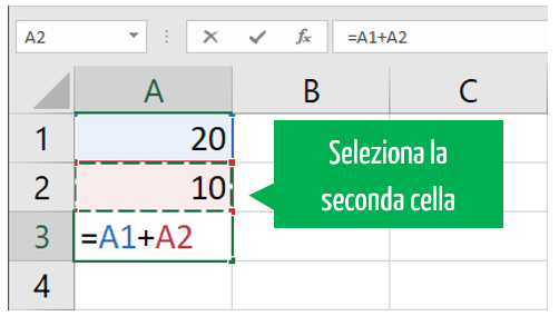 Excel somma | formula somma Excel selezione seconda cella
