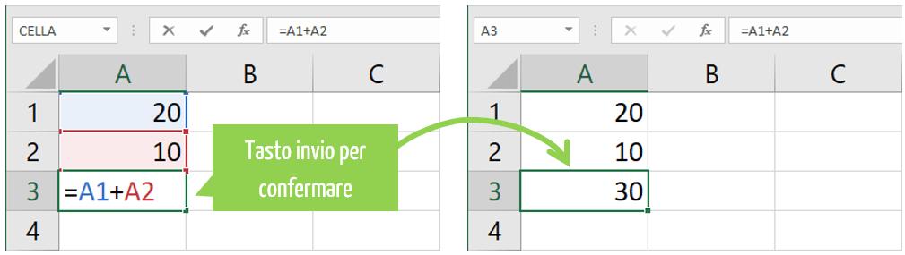 sommare in excel | funzione somma Excel tasto invio