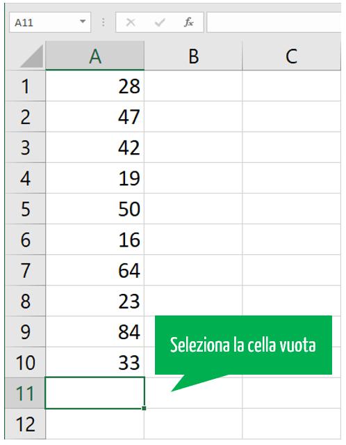 funzione somma Excel | selezione cella vuota