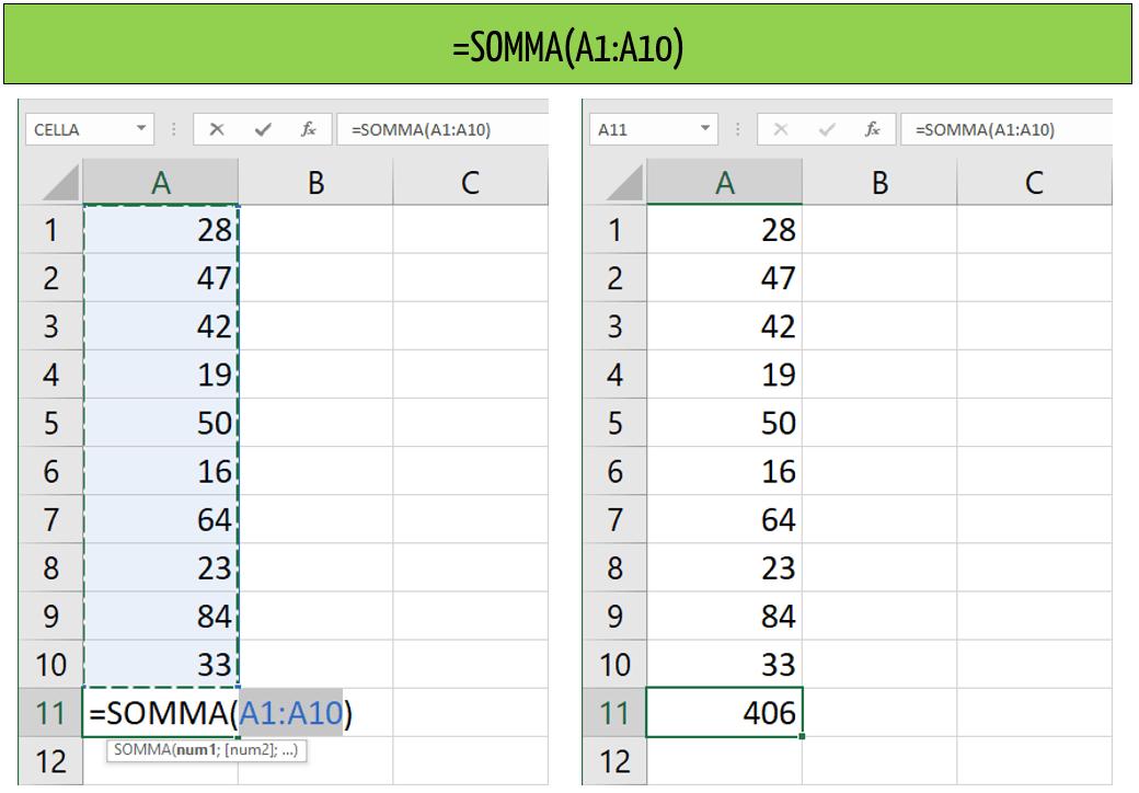 funzione somma Excel