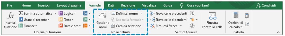 Intervallo dinamico Excel: definizione nome intervallo
