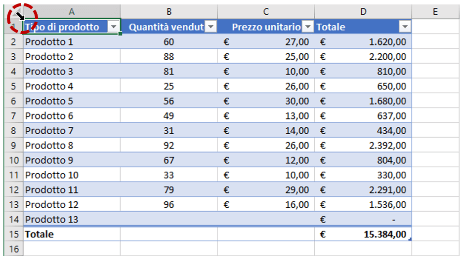 tabelle excel