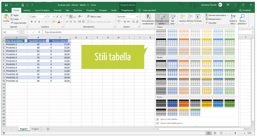 come creare tabella excel | formatta come tabella