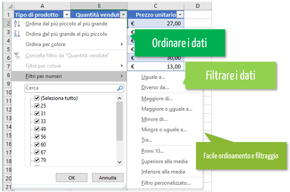 come creare una tabella excel | ordinare e filtrare dati