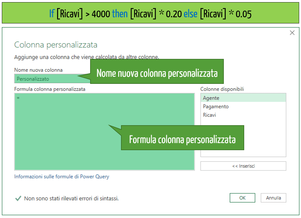 funzione se excel power query