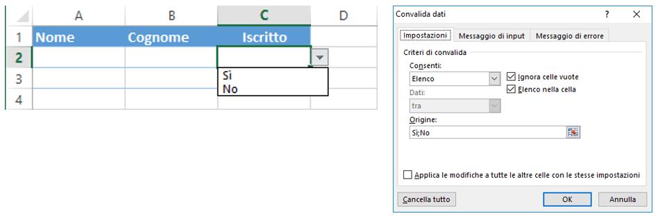esempi convalida dati Excel