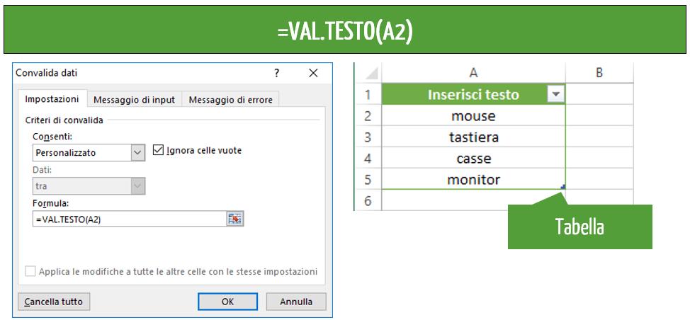 funzione val testo Excel
