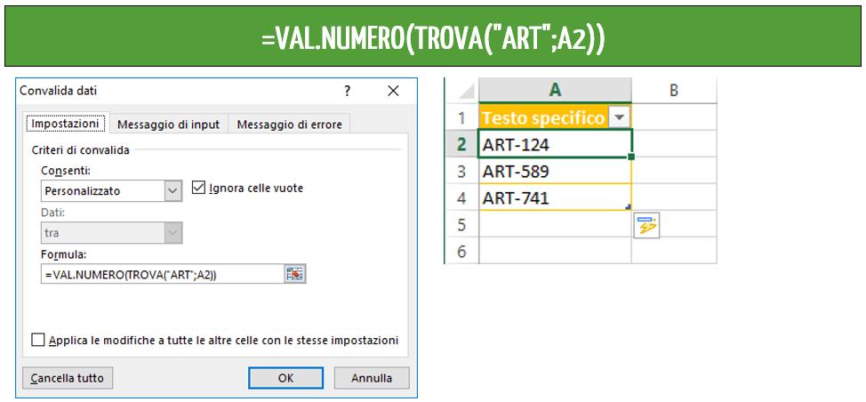 funzioni excel - esempi convalida dati Excel