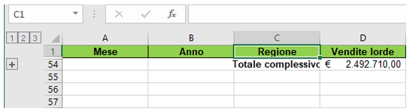 somma in excel | subtotale excel - totale complessivo