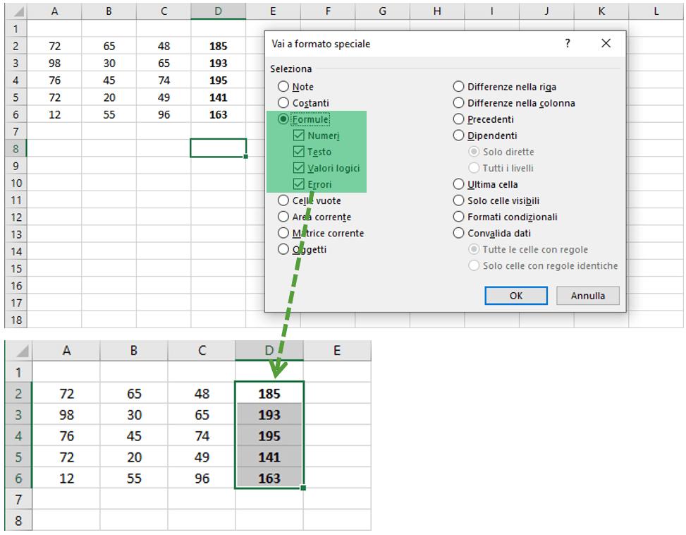 selezionare tutte le celle con formule