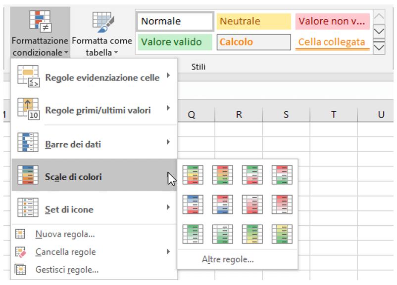 colori excel: stili della formattazione condizionale Excel