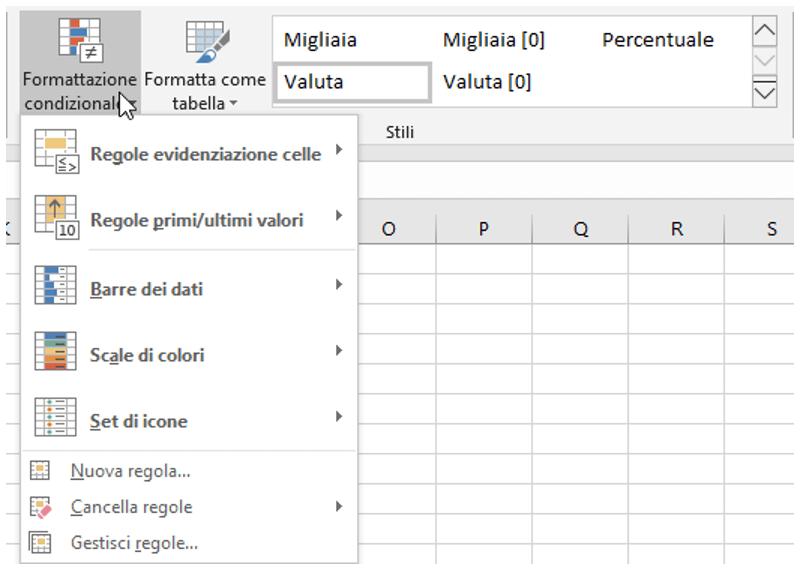 comando Formattazione condizionale