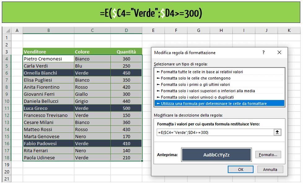 Excel formattazione condizionale più condizioni