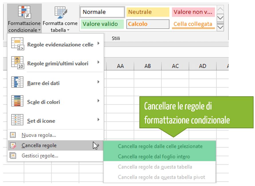 Come cancellare regole di formattazione