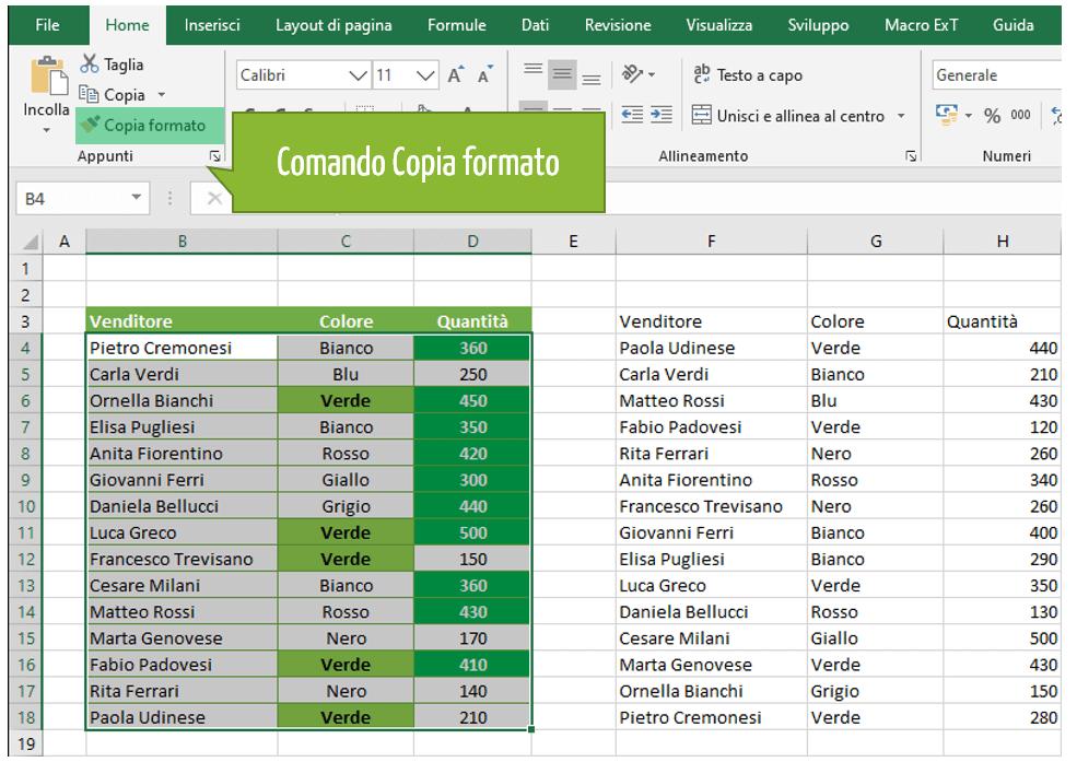 formattare celle Excel: come copiare la formattazione condizionale Excel