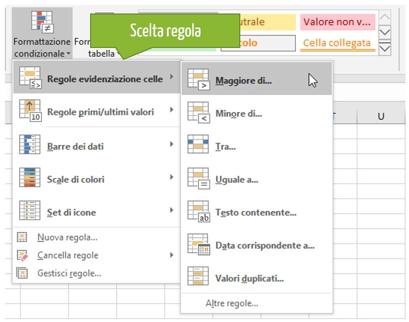regole excel: scegliere una regola di formattazione condizionale in Excel