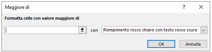 regola formattazione condizionale Excel