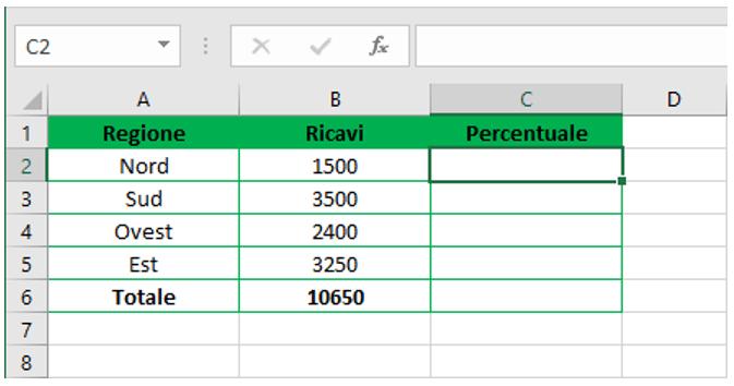 percentuali calcoli excel