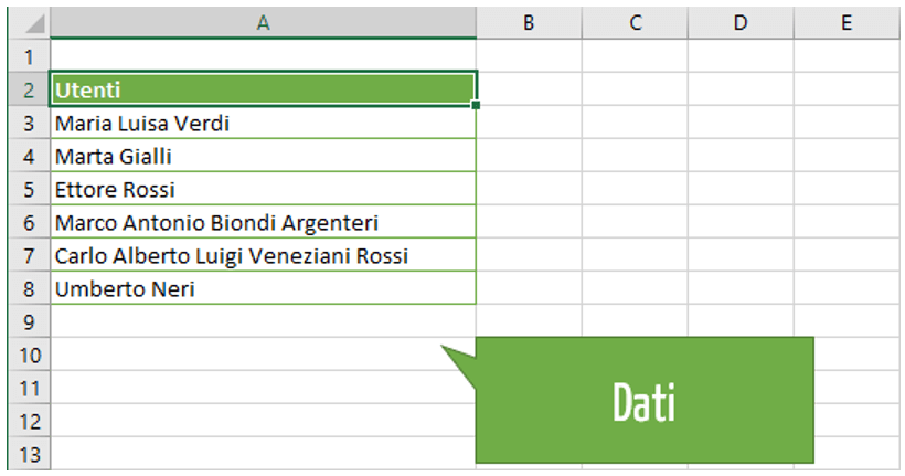 Excel testo in colonne