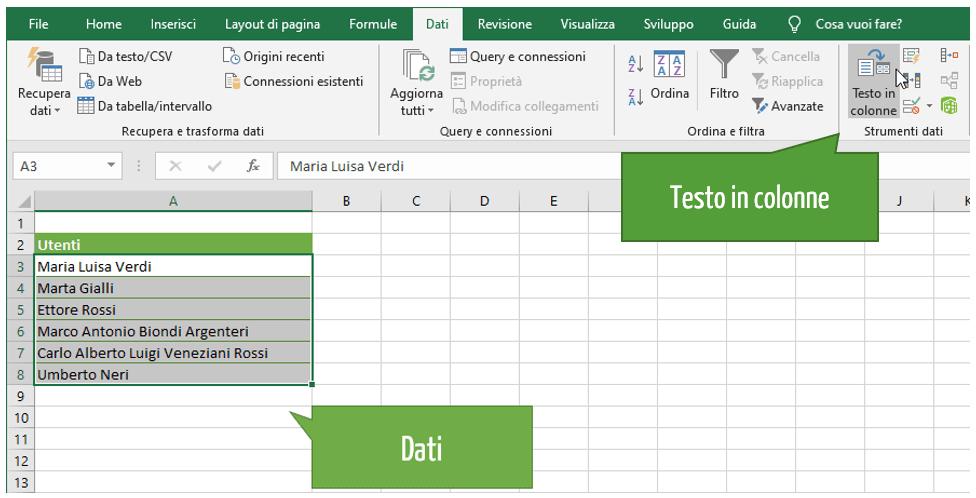 Excel testo in colonne