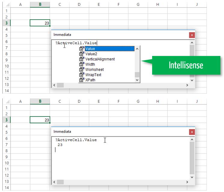 programmazione excel | intellisense