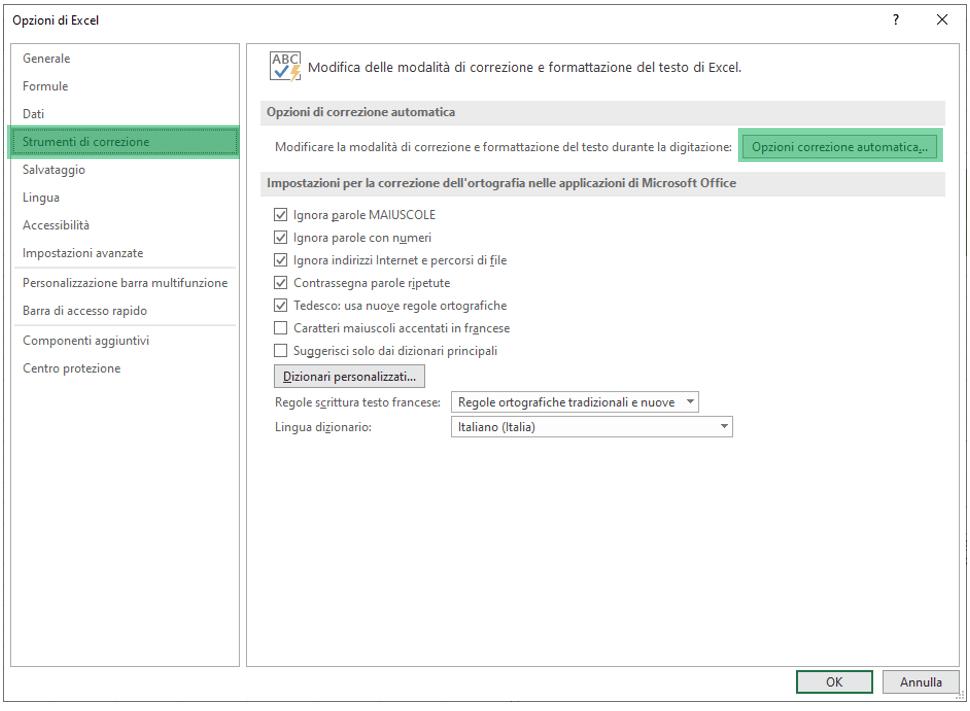 opzioni correzione automatica excel