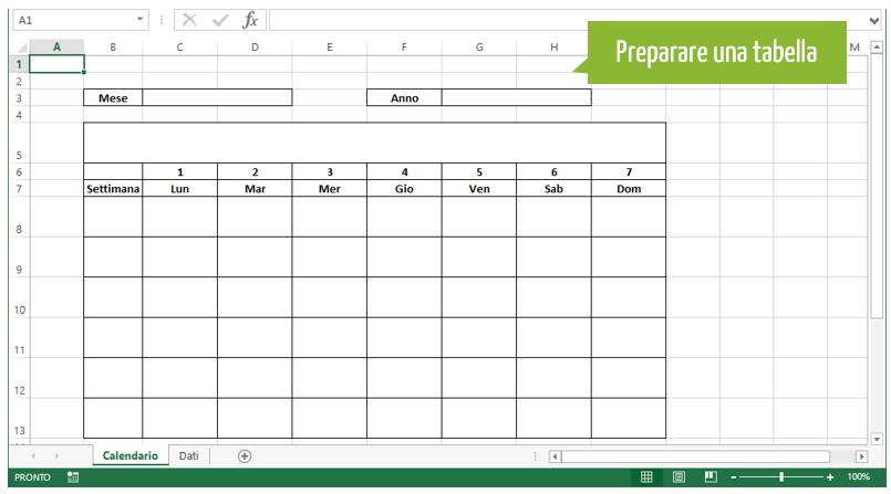crea calendario | preparare una tabella