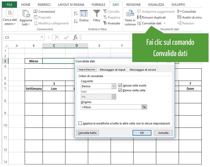 calendario su excel | convalida dati