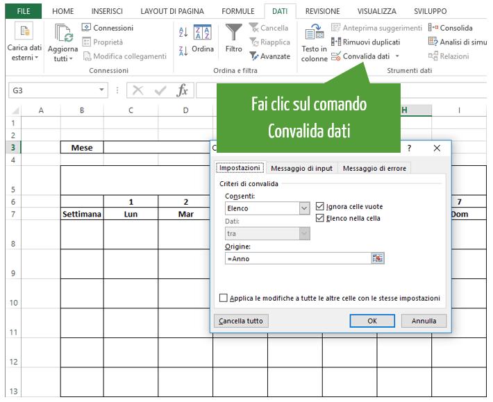 come creare un calendario | convalida dati