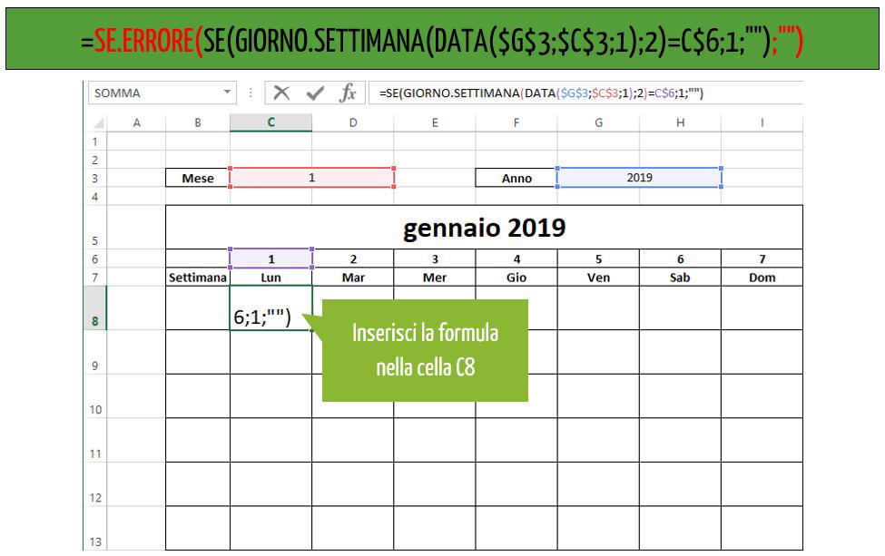 come creare un calendario con excel | formula excel
