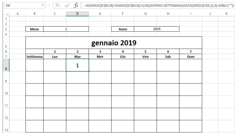 inserire un calendario in excel