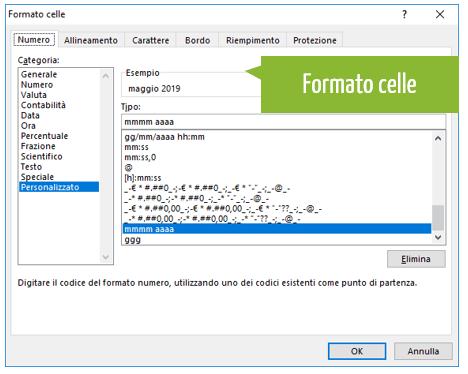 creare calendario | formato celle personalizzato